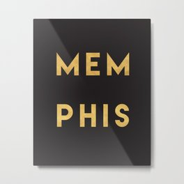 MEMPHIS TENNESSEE GOLD CITY TYPOGRAPHY Metal Print
