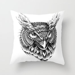 Ornate Owl Head Throw Pillow