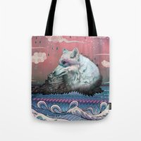 waves Tote Bags featuring Lone Wolf by Mat Miller