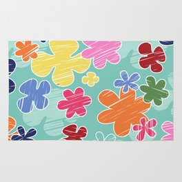 Tropical Flowers, Petals - Pink Green Blue Yellow Rug
