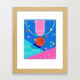 Shot Caller - memphis retro basketball sports athletic art design neon throwback 80s style Framed Art Print