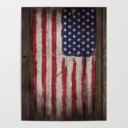 Wood American flag Poster