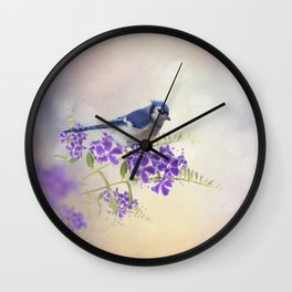 Blue Jay Perching on Blue Flowers watercolor painting Wall Clock