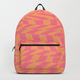 Psychedelic Warped Wavy Checkerboard in Sunset Pink and Orange Backpack