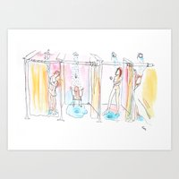 What happens behind the curtains Art Print