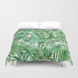 Green tropical leaves III Duvet Cover