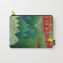 Vintage Japanese Woodblock Print Rainy Day At The Shinto Shrine Tall Pine trees Yellow Rain Coat Carry-All Pouch
