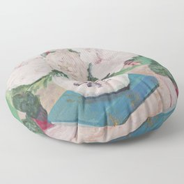 still life, painting, flowers, peony, book, succulents Floor Pillow