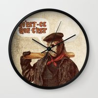 yetiland Wall Clocks featuring Psycho Killer by Eric Fan