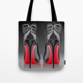 Pair of black high heel shoe with bows Tote Bag