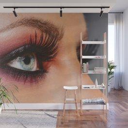 Cosmetics & make-up. Close up woman eye with beautiful shades smokey eyes makeup. Modern fashion Wall Mural