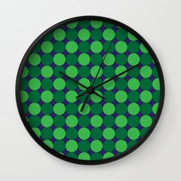 Green Dodecagons on Blue Wall Clock