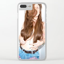 Tara in Unicorn Jeans Clear iPhone Case