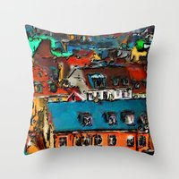 copenhagen Throw Pillows featuring Copenhagen Rooftops by E.M. Shafer