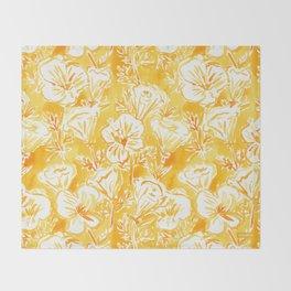 CALI POP Yellow California Poppies Throw Blanket