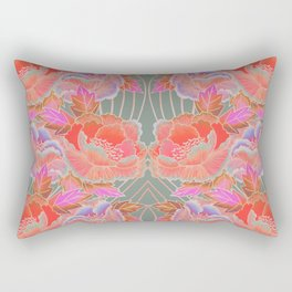 Peonies Pattern with Waves - Red, Pink, Purple, Green Rectangular Pillow