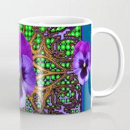 DECORATIVE PURPLE PANSIES TEAL ART Coffee Mug