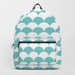 Aqua Clamshell Pattern Backpack