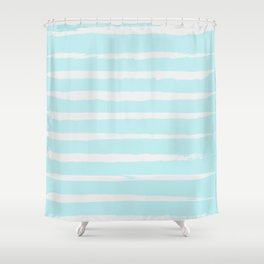 Irregular Hand Painted Stripes Mint Shower Curtain