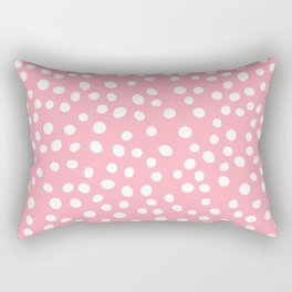 Bright pink and white doodle dots Rectangular Pillow