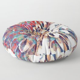 Japanese Inspired Lily Design Sketch Floor Pillow