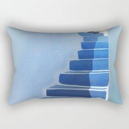 Blue Stairs - Santorini, Greece - Minimal, Ethereal, Romantic Painting Rectangular Pillow