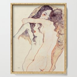 Egon Schiele Two Women Embracing Serving Tray