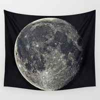 the moon Wall Tapestries featuring Moon by Pete Baker
