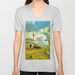 Emirates A380 Airbus Pop Art Unisex V-Neck