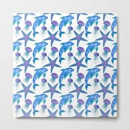 Hand Drawn Dolphins Pattern Metal Print