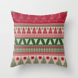 Pine Tree Ugly Sweater Throw Pillow