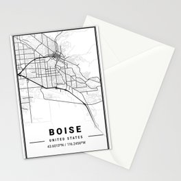 Boise Light City Map Stationery Cards