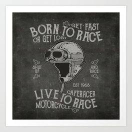 Born to Race Motorcycle Vintage Chalkboard Poster Art Print