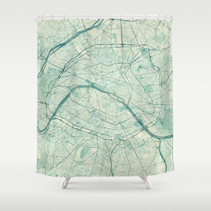 Paris Map Blue Vintage Shower Curtain by hubertroguski   Society6