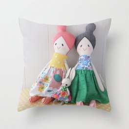 Odango-chan(top knot girls) and Little Bunny  Throw Pillow