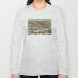Vintage Pictorial Map of Little Rock AR (1871) Long Sleeve T-shirt