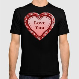 Love You Heart on Triangles Pattern T-shirt