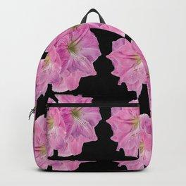 BLACK MODERN ART PINK TROPICAL AMARYLLIS FLOWERS Backpack