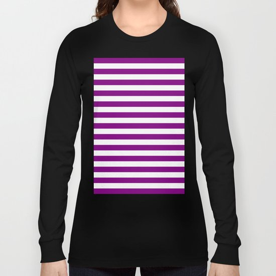 Horizontal Stripes (Purple/White) Long Sleeve T-shirt