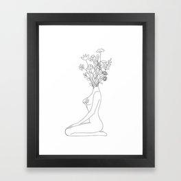 Minimal Line Bloom Framed Art Print