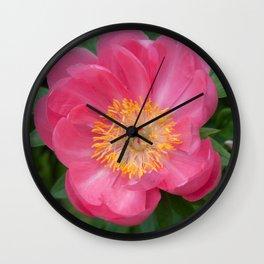 Coral Peony 2 by Teresa Thompson Wall Clock