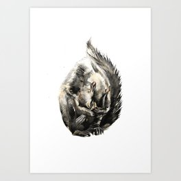 Squirrel contemplating life's harsh realities Art Print