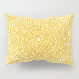 Spiral Mandala (Yellow Golden) Curve Round Rainbow Pattern Unique Minimalistic Vintage Zentangle Pillow Sham