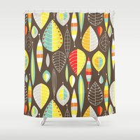 mod Shower Curtains featuring Mod Owls_Leaves by Jeannine Feierbach Designs