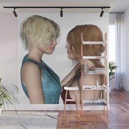 Girls in Love Staring at Each Other Wall Mural