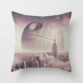 Death Star Over New York Throw Pillow