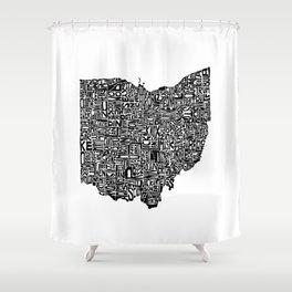 Typographic Ohio Shower Curtain