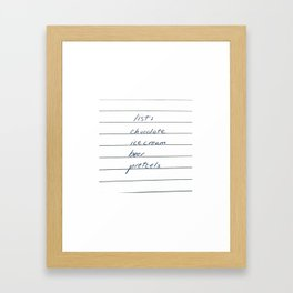 list - chocolate, ice cream, beer, pretzels Framed Art Print