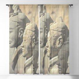 Chinese Terracotta Warriors Sheer Curtain