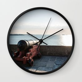 Old gun on the walls of Saint Malo Wall Clock